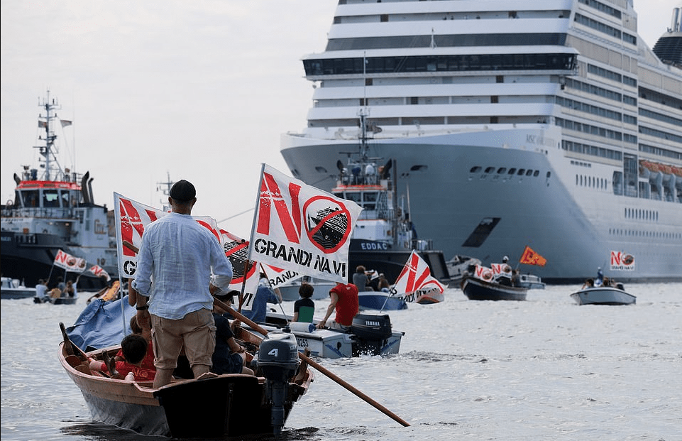 Venice residents protest as cruise ships resume sailing
